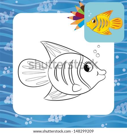 Cartoon fish. Coloring page. Vector illustration. - stock vector