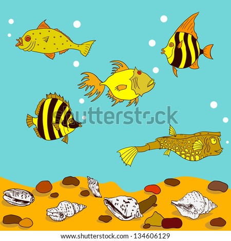 Cartoon fish in water with sand, stones and shells, vector illustration - stock vector