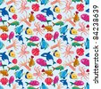 cartoon fish seamless pattern - stock vector