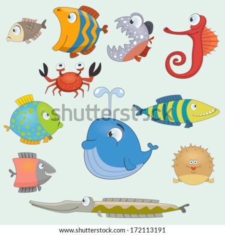 Cartoon fish set - stock vector