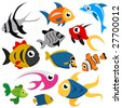 cartoon fish set vector - stock vector