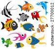 cartoon fish set vector - stock vector