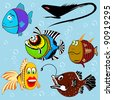 Cartoon fish set with facial expressions - stock vector