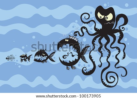 Cartoon fish silhouettes. The background is detached. - stock vector