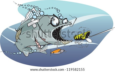 Cartoon fish. The toughest, meanest fish in the lake. Layered vector file. - stock vector