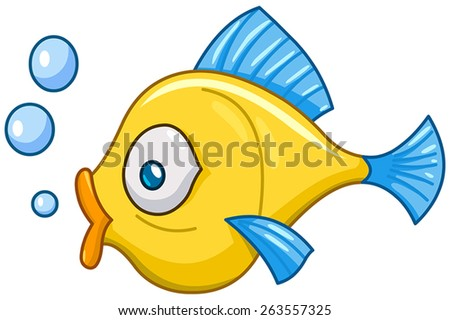 Cartoon fish with bubbles - stock vector