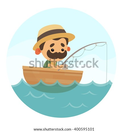 Cartoon Fisherman - stock vector