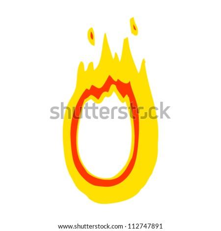 cartoon flaming letter o - stock vector