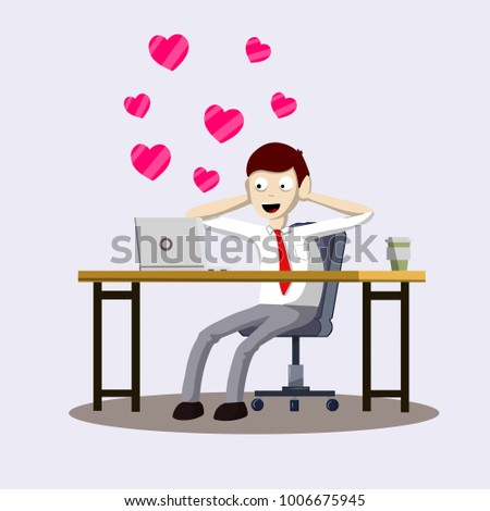 Cartoon flat illustration - romantic relationship. office man in shirt and tie behind a Desk with a computer gets Valentines. correspondence in the messenger with his beloved. Chat Internet network.