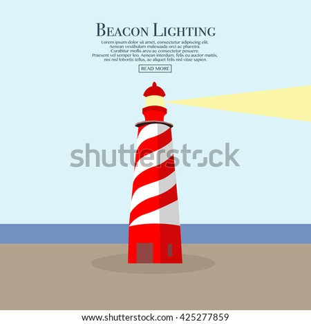 Cartoon flat lighthouse. Searchlight tower for maritime navigational guidance. Beacon. Vector illustration for web site, print, poster, presentation, infographic. - stock vector