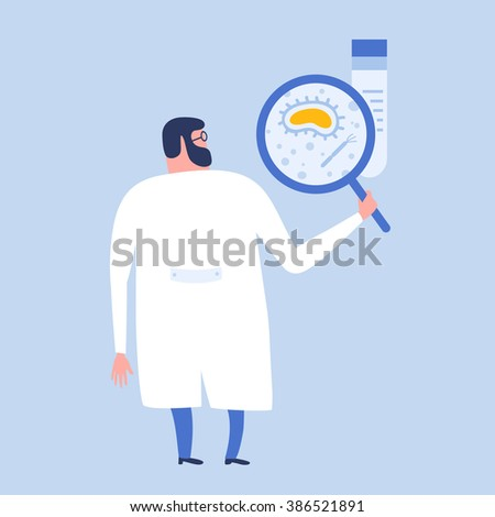 Cartoon flat scientist or laboratory researcher are making research in biology with a magnifying glass. Biology research with cells and virus. Scientist with loupe. Vector flat illustration. - stock vector
