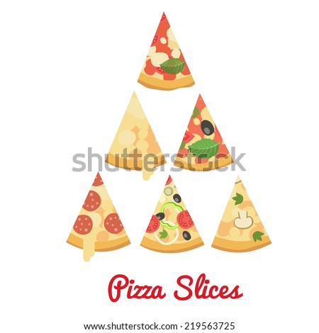 Cartoon flat style. Pizzas slices, vector illustration - stock vector