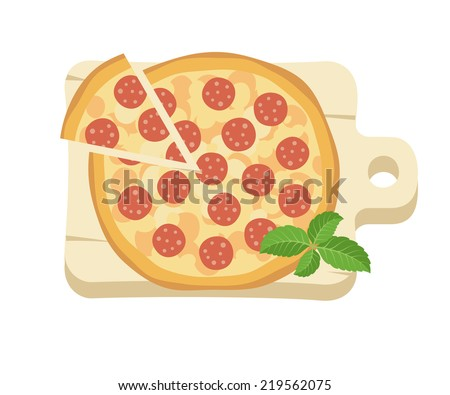 Cartoon flat style. Salami pizza on a board, vector illustration - stock vector
