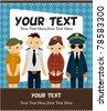 cartoon flight attendant/pilot card - stock vector