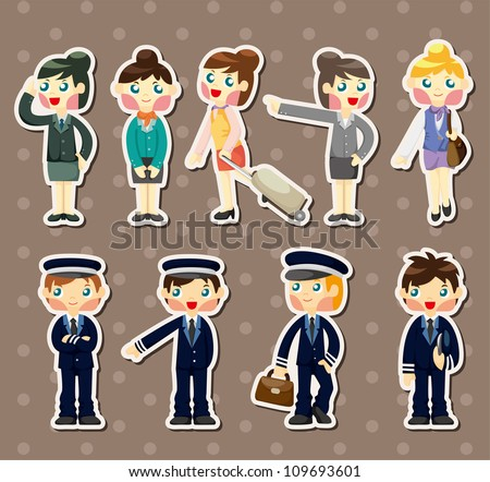 cartoon flight attendant/pilot stickers - stock vector