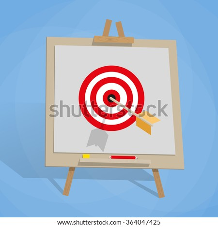 cartoon Flip chart with target and wrrow in center. vector illustration in flat design on blue background. Goal achievement concept.  - stock vector