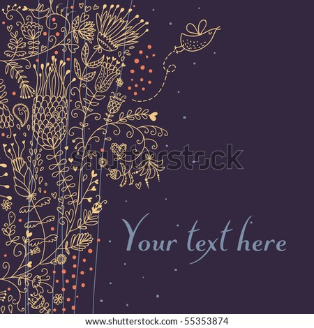 Cartoon floral background in retro style
