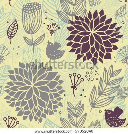 Cartoon floral seamless pattern - stock vector