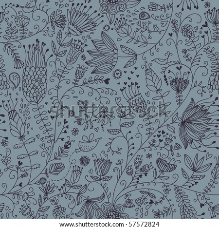Cartoon floral seamless pattern with birds - stock vector