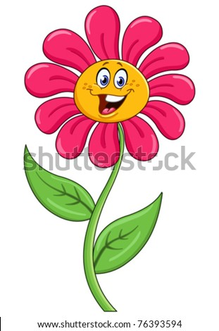 Cartoon flower - stock vector