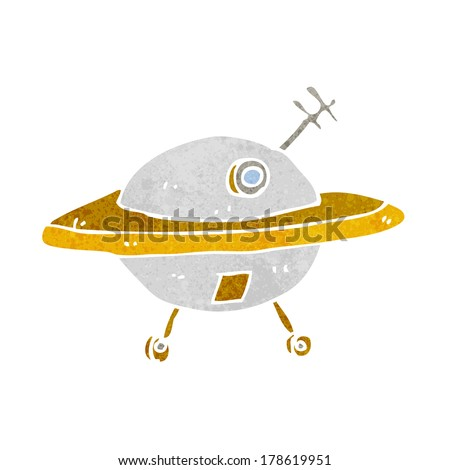 cartoon flying saucer - stock vector