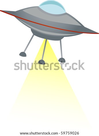 Cartoon flying saucer spaceship shoots yellow transparent beam down