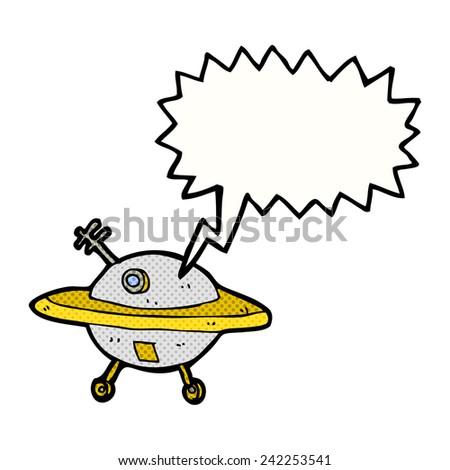 cartoon flying saucer with speech bubble - stock vector