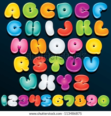 Cartoon Font. Multicolored Vector Letters and Numbers for your Text, Design or Logos - stock vector