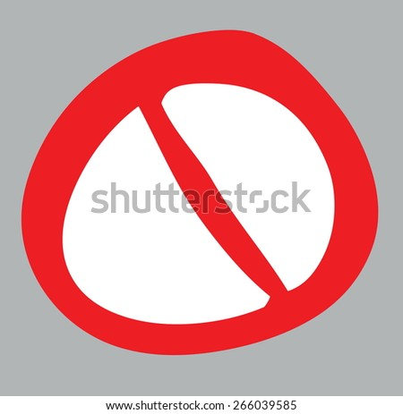 cartoon forbidden sign, vector design element - stock vector