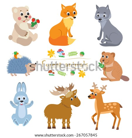 Cartoon forest animals pack. Cute vector set: bear, fox , wolf, hedgehog , beaver, moose, hare, deer. - stock vector