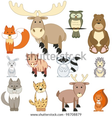 Cartoon forest animals set on white background - stock vector