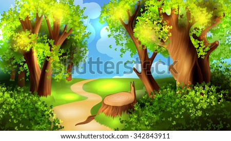 cartoon forest background stock vector 342843911 shutterstock rh shutterstock com cartoon forest background hd cartoon forest background pictures