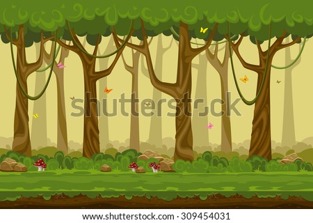 Cartoon forest landscape, endless vector nature background for computer games. Nature tree, outdoor plant green, natural environment wood illustration - stock vector