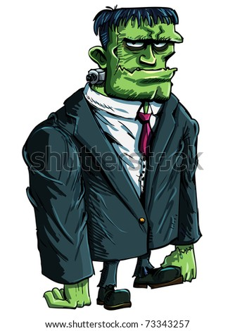 Cartoon Frankenstein moster as a boss. He is in a suit
