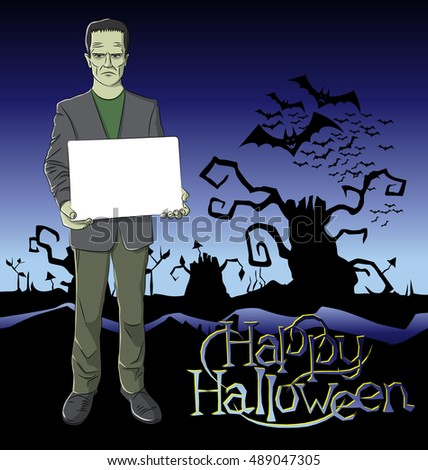 Cartoon Frankenstein vector.