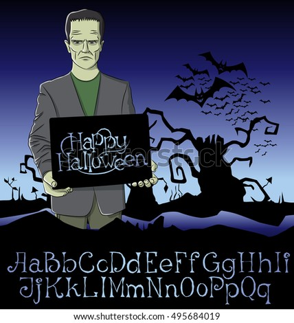 Cartoon Frankenstein vector. Halloween font set. Frankenstein Halloween. Halloween background. Monster