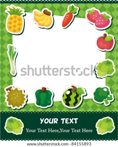 cartoon fruit card - stock vector