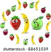 Cartoon fruit?s and berries with emotions - stock vector