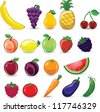 Cartoon fruits and vegetables - stock photo