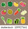 cartoon Fruits and Vegetables icon set - stock