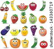 Cartoon fruits and vegetables with different emotions - stock photo
