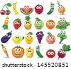 Cartoon fruits and vegetables with different emotions  - stock vector