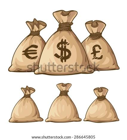 Cartoon full sacks with money. Eps10 vector illustration. Isolated on white background - stock vector