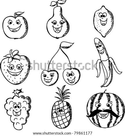 Cartoon fun fruit and berries - stock vector