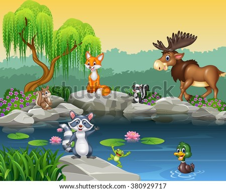 Cartoon Funny Animal Collection On Beautiful Stock Vector ...