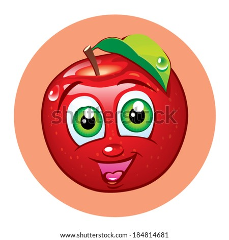 Cartoon funny apple with smiling face vector