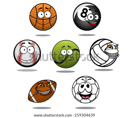 Cartoon funny basketball, billiard, baseball, tennis volleyball ruby and football balls - stock vector