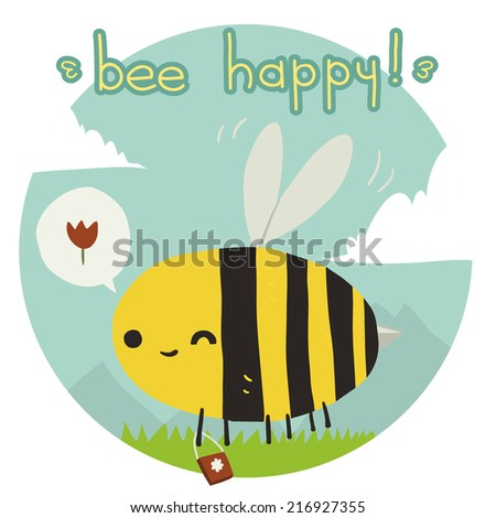 Cartoon funny bee happy flat icon. The vector illustration for ui, web games, tablets, wallpapers, and patterns. - stock vector