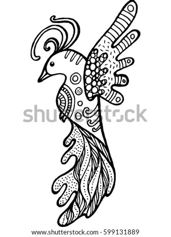 Cartoon Funny Bird Coloring Page Hand Drawn Doodle Zentangle Vector Illustration For Kids And Adult
