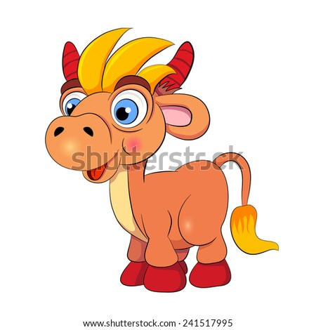 Cartoon funny bull on white background.
